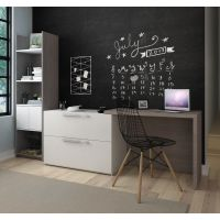 Bestar Small Space 2-Piece Sliding Computer Desk and 20-inch Storage Tower Set in Bark Gray and White BESBES1685547