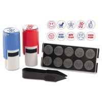 """Stamp-Ever Stamp, Self-Inking with 10 Dies, 5/8"""", Blue/Red USS4630"""