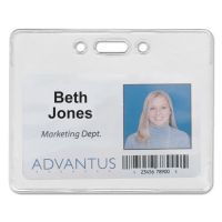 Advantus Proximity ID Badge Holder, Horizontal, 3 3/8w x 2 3/8h, Clear, 50/Pack AVT75450