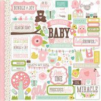 """Bundle Of Joy Girl Cardstock Stickers 12""""X12"""" NOTM029606"""