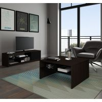 Bestar Small Space 2-Piece Storage Coffee Table and TV Stand Set in Dark Chocolate and Black BESBES1685179
