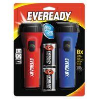 Eveready LED Economy Flashlight, Red/Blue, 2/Pack EVEL152S