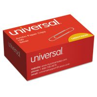 Universal Smooth Paper Clips, Wire, Jumbo, Silver, 100/Box UNV72220BX