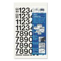 "Chartpak Press-On Vinyl Numbers, Self Adhesive, Black, 1""h, 44/Pack CHA01130"