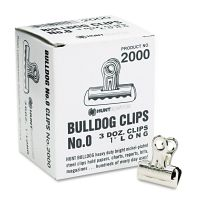 "X-ACTO Bulldog Clips, Steel, 5/16"" Capacity, 1""w, Nickel-Plated, 36/Box EPI2000LMR"