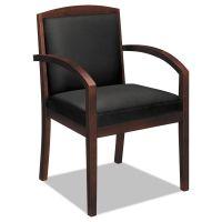 HON TopFlight Wood Guest Chair, Black Leather Upholstery w/Mahogany Veneer BSXVL853NSB11