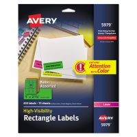 Avery High-Visibility Permanent ID Labels, Laser, 1 x 2 5/8, Asst. Neon, 450/Pack AVE5979
