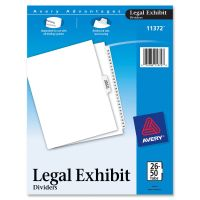 Avery-Style Legal Exhibit Side Tab Divider, Title: 26-50, Letter, White AVE11372