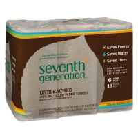 Seventh Generation Natural Unbleached 100% Recycled Paper Towel Rolls, 11 x 9, 2-Ply, Brown, 120 Sheets/Roll, 6 Rolls/Pack SEV13737PK