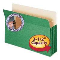 """Smead 3 1/2"""" Exp Colored File Pocket, Straight Tab, Legal, Green SMD74226"""