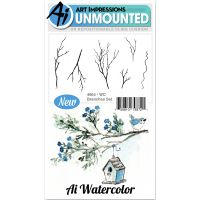 """Art Impressions Watercolor Cling Rubber Stamps 4""""X7"""" NOTM098814"""