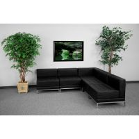Flash Furniture HERCULES Imagination Series Black Leather Sectional Configuration, 5 Pieces FHFZBIMAGSECTSET5GG