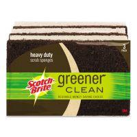Scotch-Brite Greener Clean Heavy-Duty Scrub Sponge, 2 7/10 x .75 x 4 3/5, Brown, 3/Pack MMM87033