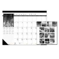 House of Doolittle Recycled Black-and-White Photo Monthly Desk Pad Calendar, 22 x 17, 2018-2019 HOD122