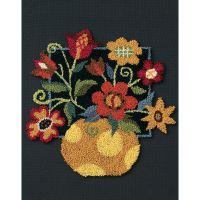 Floral On Black Punch Needle Kit NOTM324352