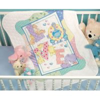 Dimensions Baby Hugs Zoo Alphabet Quilt Stamped Cross Stitch Kit NOTM390832
