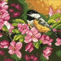 Chickadee In Pink Mini Needlepoint Kit NOTM390132