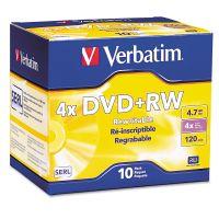 Verbatim DVD+RW Discs, 4.7GB, 4x, w/Slim Jewel Cases, Pearl, 10/Pack VER94839