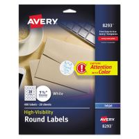 Avery Vibrant Color-Printing Round Address Labels, 1 1/2 dia, White, 400/Pack AVE8293