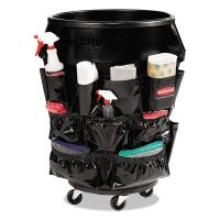Rubbermaid Commercial Brute Caddy Bag, 12 Pockets, Black, 6/Carton RCP1867533CT