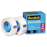 "Scotch Removable Tape 811 2PK, 3/4"" x 1296"", 1"" Core, Transparent, 2/Pack MMM8112PK"