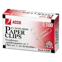 ACCO Nonskid Standard Paper Clips, #1, Silver, 100/Box, 10 Boxes/Pack ACC72385