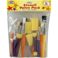 Stencil Brush Value Pack 25/Pkg NOTM270388