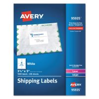 Avery White Shipping Labels, Inkjet/Laser, 3 1/2 x 5, White, 1000/Box AVE95935