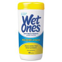 Wet Ones Antibacterial Moist Towelettes, 5 x 7 1/2, White, 40/Canister, 12/Carton PLX4672