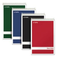 TOPS Steno Book w/Assorted Colored Covers, 6 x 9, Green Tint, 80 Sheets, 4 Pads/Pack TOP80221