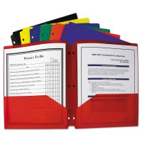 C-Line Two-Pocket Heavyweight Poly Portfolio Folder, 3-Hole Punch, Letter, Assorted CLI33930