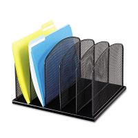 Safco Mesh Desk Organizer, Five Sections, Steel, 12 1/2 x 11 1/4 x 8 1/4, Black SAF3256BL