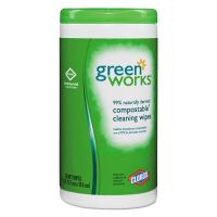 Green Works Compostable Cleaning Wipes, 7 x 7 1/2, Original Scent, 62/Canister CLO30380