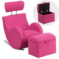Flash Furniture HERCULES Series Pink Fabric Rocking Chair with Storage Ottoman FHFLD2025PKGG