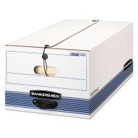 Bankers Box STOR/FILE Storage Box, Button Tie, Legal, White/Blue, 12/Carton FEL00705