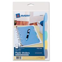 Avery Write-On Standard Tab Plastic Dividers, 5-Tab, Multi-color Tab, 5 1/2 x 8 1/2, 1 Set AVE16180