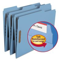 Smead Folders, Two Fasteners, 1/3 Cut Assorted Top Tab, Letter, Blue, 50/Box SMD12040