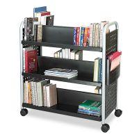 Safco Scoot Book Cart, Six-Shelf, 41-1/4w x 17-3/4d x 41-1/4h, Black SAF5335BL