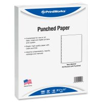 PrintWorks Professional 43-Hole Punched Pro Office Paper, 20 lb, 8 1/2 x 11, White, 500 Sheets/Ream PRB04144
