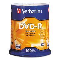 Verbatim DVD-R Discs, 4.7GB, 16x, Spindle, Silver, 100/Pack VER95102