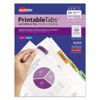 Avery Printable Plastic Tabs with Repositionable Adhesive, 1 3/4, Assorted, 80/Pack AVE16283