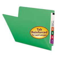 Smead Colored File Folders, Straight Cut, Reinforced End Tab, Letter, Green, 100/Box SMD25110