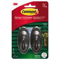Command All Weather Hooks and Strips, Plastic, Medium, 2 Hooks & 4 Strips/Pack MMM17086SAWES