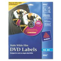 Avery Inkjet DVD Labels, Matte White, 20/Pack AVE8962