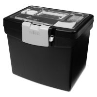 Storex Portable File Box with Large Organizer Lid, 13 1/4 x 10 7/8 x 11, Black STX61504U01C