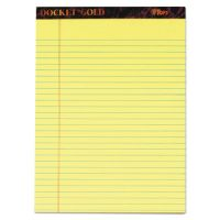 TOPS Docket Ruled Perforated Pads, 8 1/2 x 11 3/4, Canary, 50 Sheets, Dozen TOP63950