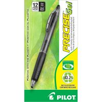 Pilot Precise Gel BeGreen Retractable Roller Ball Pen, Black Ink, .7mm, Dozen PIL15001