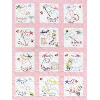 Jack Dempsey Stamped White Nursery Quilt Blocks NOTM234565