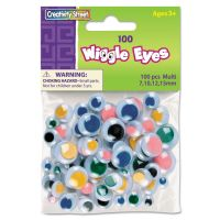 Creativity Street Wiggle Eyes Assortment, Assorted Sizes, Assorted Colors, 100/Pack CKC344601