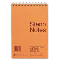 National Standard Spiral Steno Book, Gregg Rule, 6 x 9, Green, 60 Sheets RED36646